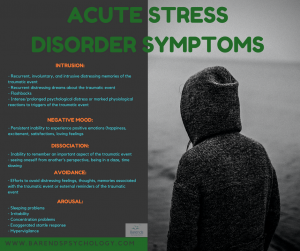 Acute stress disorder symptoms used for acute stress disorder diagnosis.